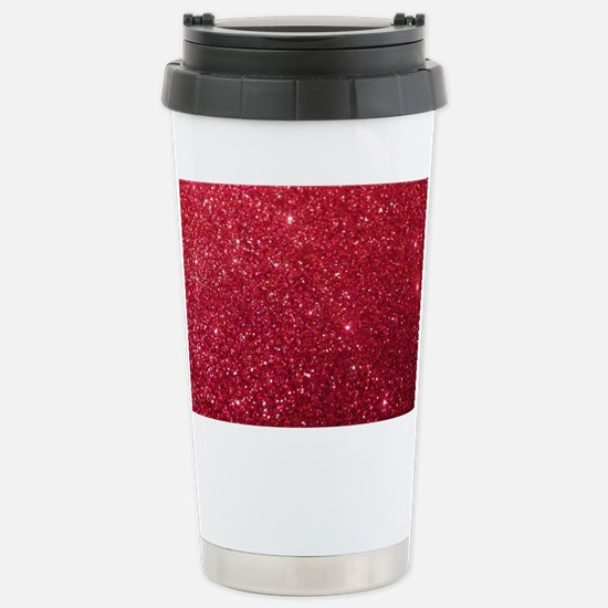 Girly Chic Red Glitter Stainless Steel Travel Mug
