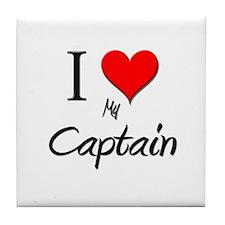 I Love My Captain Tile Coaster