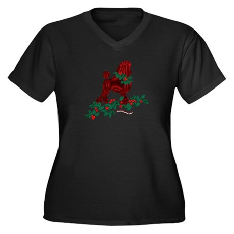 Poodle Holiday Women's Plus Size V-Neck Dark T-Shi