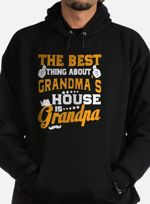 Cute The best thing at grandma%27s house is grandpa Hoodie (dark)