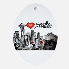 I love Seattle Oval Ornament