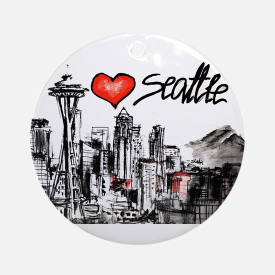 I love Seattle Round Ornament
