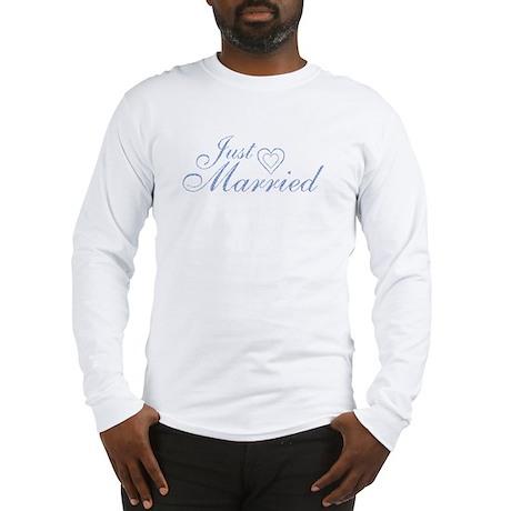 Just Married - Blue Heart Long Sleeve T-Shirt