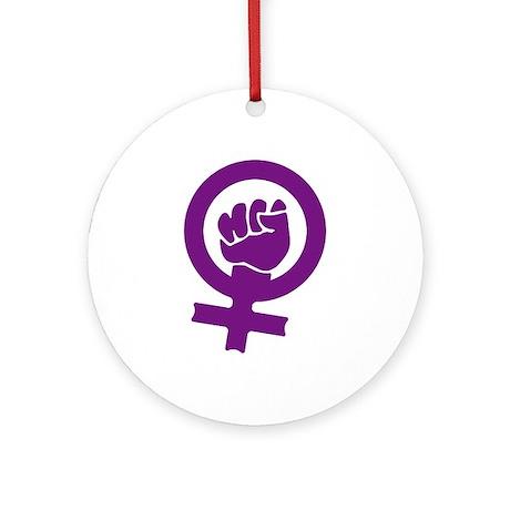 Feminist Power Ornament (Round)