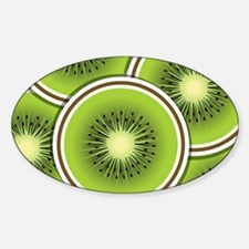 Funky kiwi fruit slices Sticker (Oval)