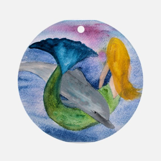 Playful Dolphin & Mermaid Ornament (Round)
