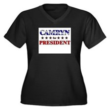CAMRYN for president Women's Plus Size V-Neck Dark