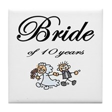 10th Wedding Anniversary Gifts Tile Coaster