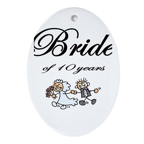 10th Wedding Anniversary Gifts Oval Ornament