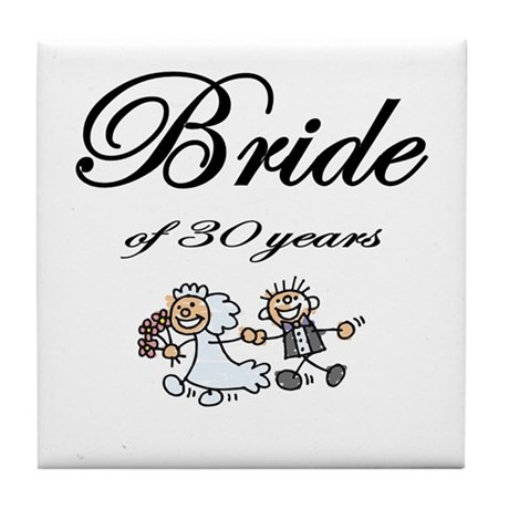 30th Wedding Anniversary Gifts Tile Coaster By Beehappi
