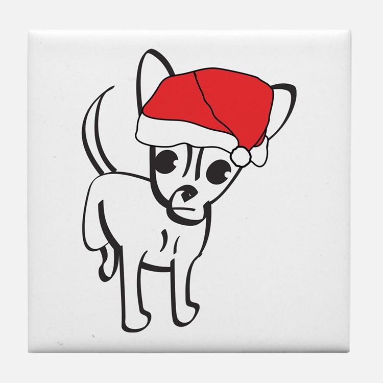 Santa Chihuahua Tile Coaster