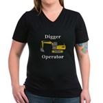 Digger Operator Women's V-Neck Dark T-Shirt
