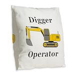 Digger Operator Burlap Throw Pillow