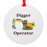 Digger Operator Round Ornament