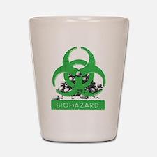 Green Biohazard Sign And Skulls Shot Glass