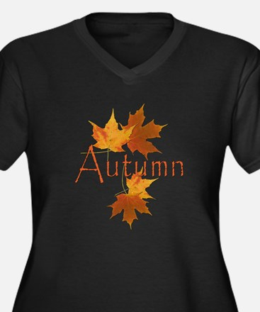 Autumn Leaves Women's Plus Size V-Neck Dark T-Shir