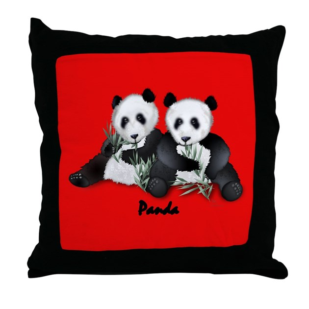 Giant Panda Bear Throw Pillow by paintedlynx