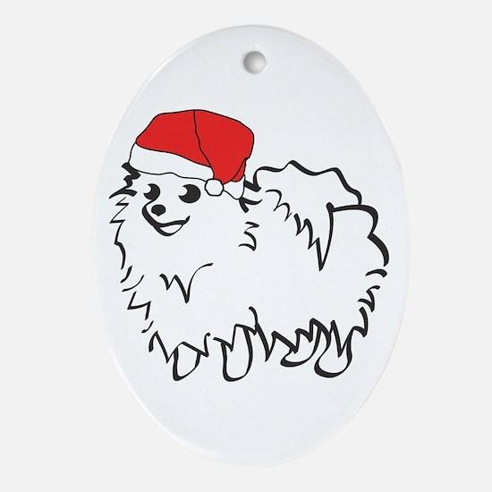 Santa Pomeranian Oval Ornament
