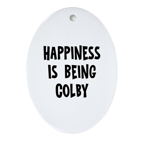 Happiness is being Colby Oval Ornament