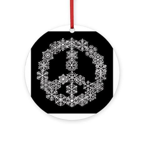 White Snowflake Peace Sign on Black Ornament