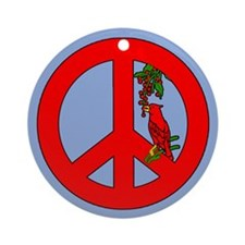 Peace Symbol with Cardinal Holiday Ornament