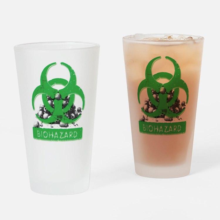 Green Biohazard Sign And Skulls Drinking Glass