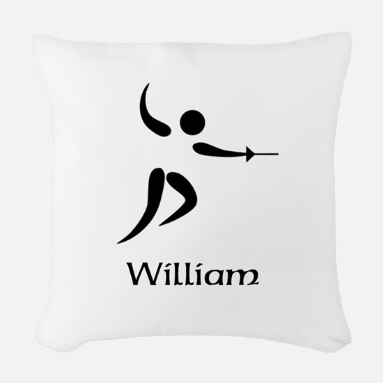 Team Fencing Monogram Woven Throw Pillow