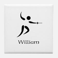 Team Fencing Monogram Tile Coaster