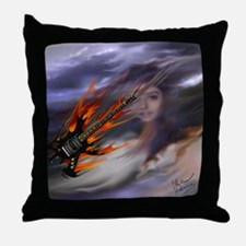 Firey Guitar Comet Throw Pillow