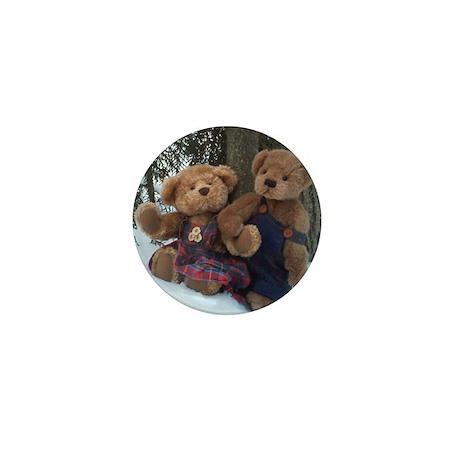 Teddy Couple holding paws Mini Button