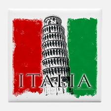 Pisa Italian Flag Tile Coaster