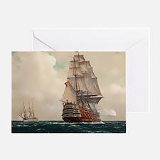 Funny Ship nautical compass sail pirate Greeting Card