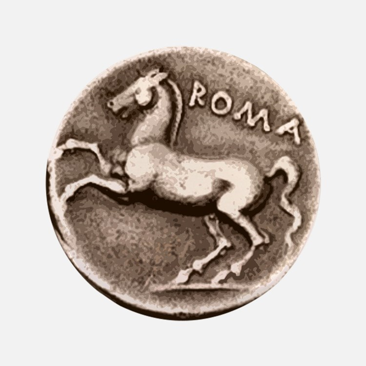 "Horse Coin, Roman Stallion. 3.5"" Button"