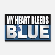 My Heart Bleeds Blue Rectangle Car Magnet