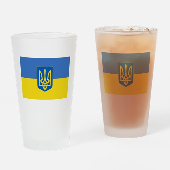 Ukrainian flag, trizub Drinking Glass