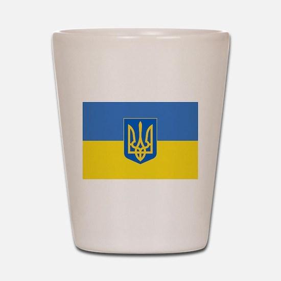Ukrainian flag, trizub Shot Glass