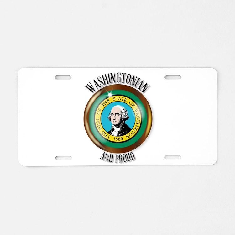 Washington Proud Flag Butto Aluminum License Plate