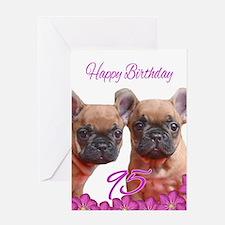 Happy 95th Birthday French Bulldog Greeting Cards