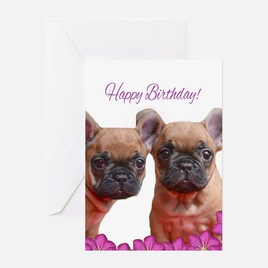 Happy Birthday French Bulldog Greeting Cards