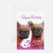 Happy 55th Birthday French Bulldog Greeting Cards