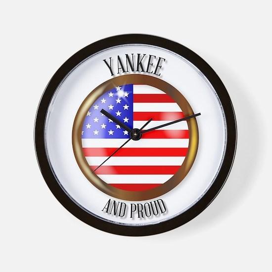 Yankee Proud Flag Button Wall Clock