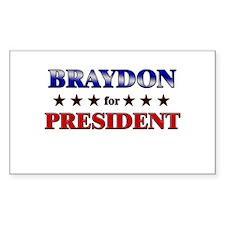 BRAYDON for president Rectangle Decal
