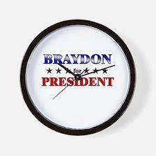 BRAYDON for president Wall Clock