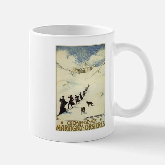 Monks Skiing Great St. Bernard Pass Mugs