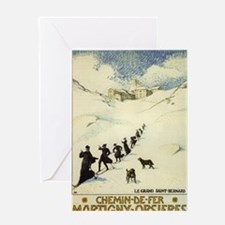 Monks Skiing Great St. Bernard Pass Greeting Cards