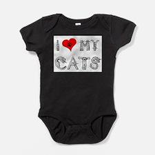 Cute Cat peace love cats Baby Bodysuit