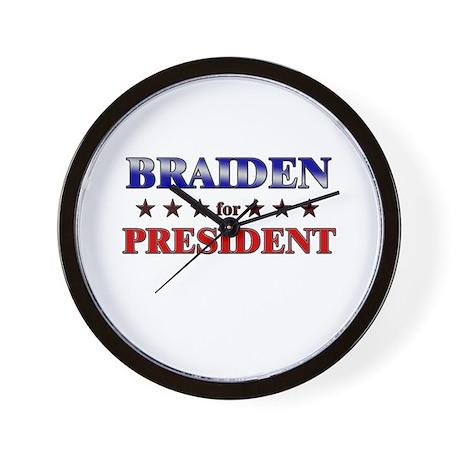 BRAIDEN for president Wall Clock