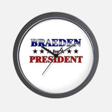 BRAEDEN for president Wall Clock