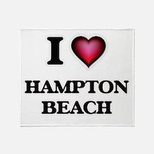 I love Hampton Beach New Hampshire Throw Blanket
