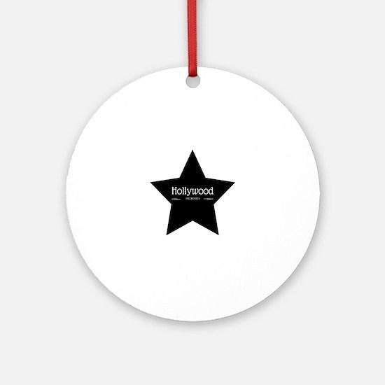 Hollywood California Black Star Round Ornament